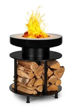 Dekorativní kovové ohniště s úložným prostorem na dřevo