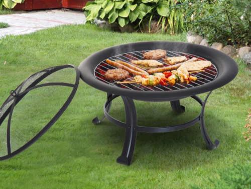 Kovové zahradní ohniště s grilovací mřížkou
