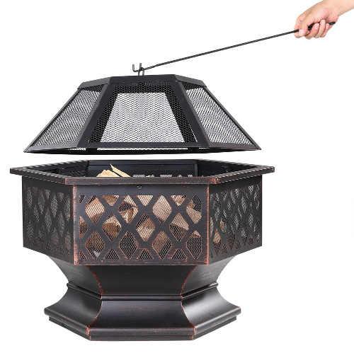 Přenosné zahradní ohniště netradičního šestiúhelníkového tvaru