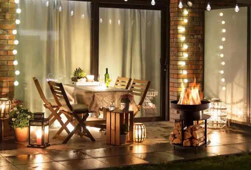 Romantické přenosné ohniště na terasu
