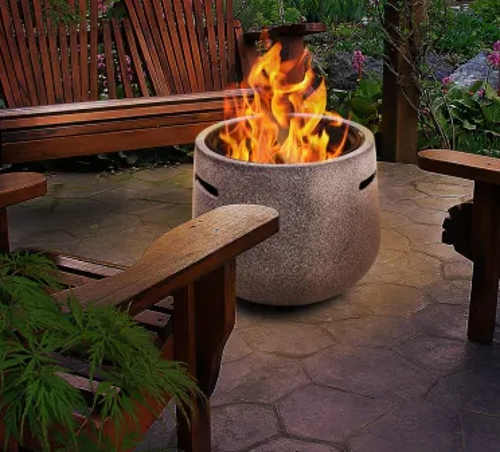 Vysoké přenosné ohniště z umělého kamene
