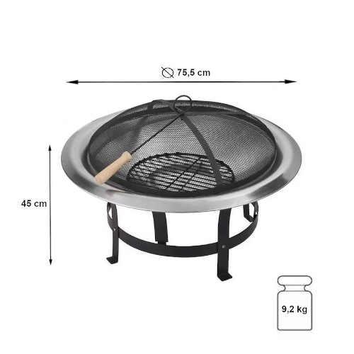 přenosné ohniště z černé kvalitní oceli